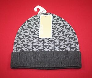 87a707ecf5b MICHAEL KORS MK LOGO BEANIE WOMENS ONE SIZE GRAY WITH SILVER ...
