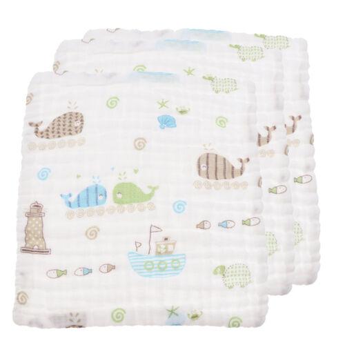 3 Stück Neugeborenen Gaze Musselin Platz Baumwolle Bad waschen Taschentuch