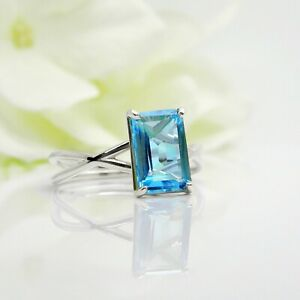 925-Sterling-Silver-Natura-Blue-Topaz-delicate-Octagun-Shape-Ring-Gift-Sale