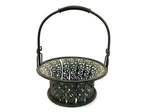 Vintage-Used-Metal-Decorative-Display-Bouquet-Basket-Floral-Leaf-Design-w-Handle