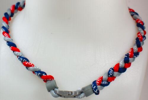 "20/"" Custom Clasp Braided Sports Gray Red Navy Blue Dark Tornado Necklace NEW"