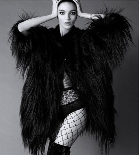 hiver luxe veste en Europe longue fausse chaud femmes étape manteau fourrure 581B4Axfqw