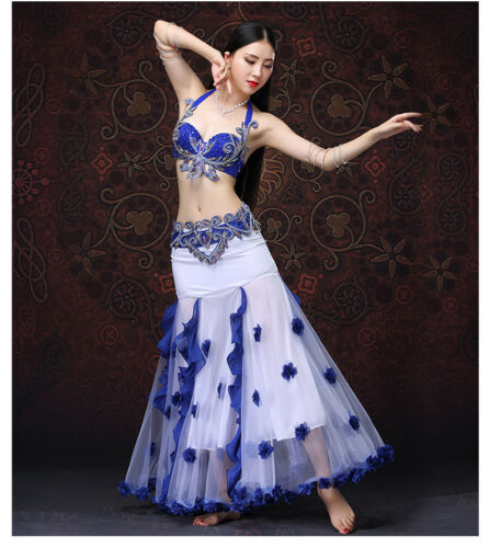 Embroidery Beading Professional Belly Dancing Costumes 3PCS Bra Skirt Belt S M L