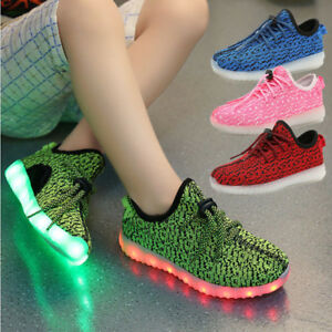 Details About Xmas Gift Boys Girls 7 Led Light Up Luminous Fabric Sneakers Kids Casual Shoes