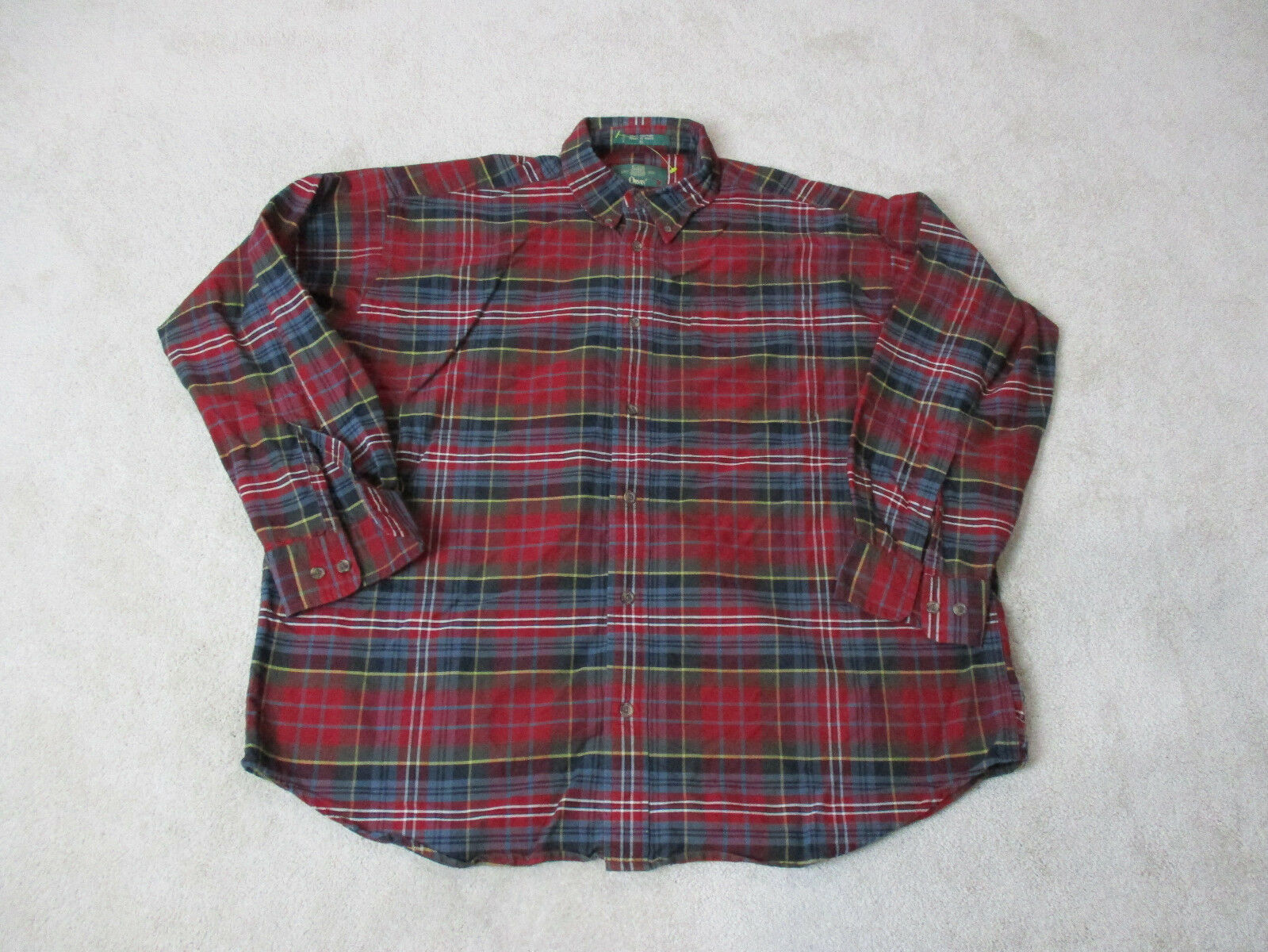 Orvis Button Up Shirt Adult Large Red Green Plaid Fishing Fisherman Casual Mens
