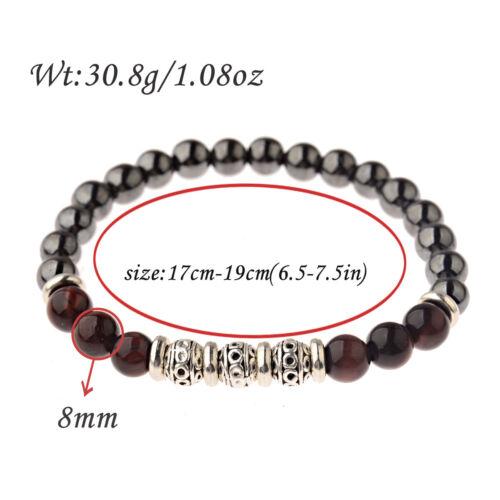 2Pcs//set fashion 8 MM HEMATITE oeil de tigre couronne perles hommes bracelets bijoux