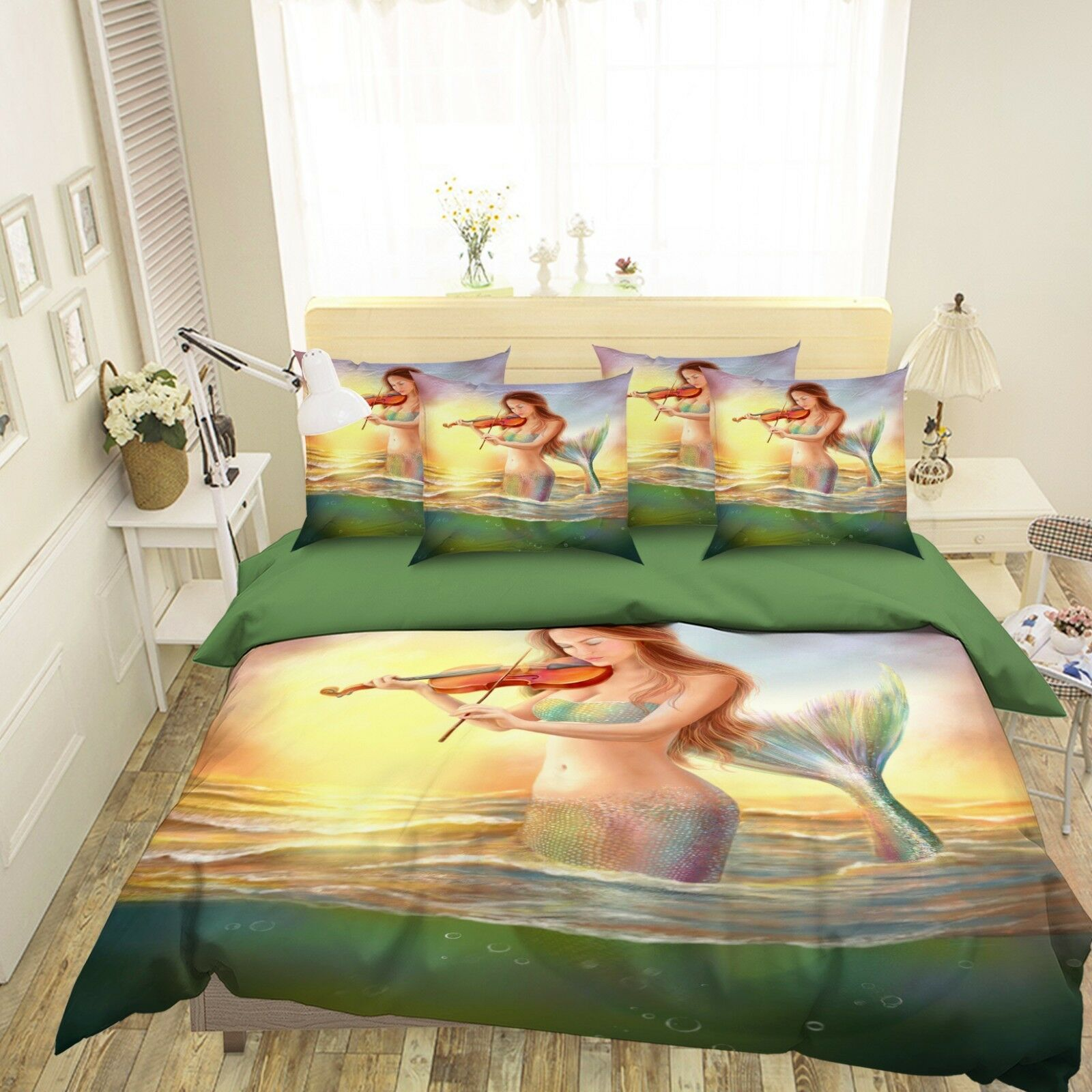 3D Girl Violin 5 Bed Pillowcases Quilt Duvet Cover Set Single Queen King AU Cobb
