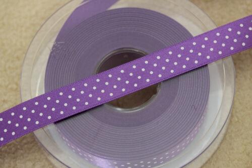 Hermoso Púrpura Berisfords cinta de raso Polka Micro Dot manchada 15mm 5932