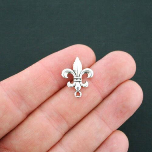 10 Fleur de Lis Charms Antique Silver Tone 2 Sided SC2828