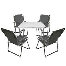 Campingmöbel Set Sitzgruppe Alu Klapptisch + 4x Klappstuhl Campingstuhl Stone
