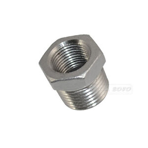 """1/"""" Male x 1//2/"""" female BSPT HEX REDUCING BUSH STAINLESS STEEL PIPE FITTINGS"""
