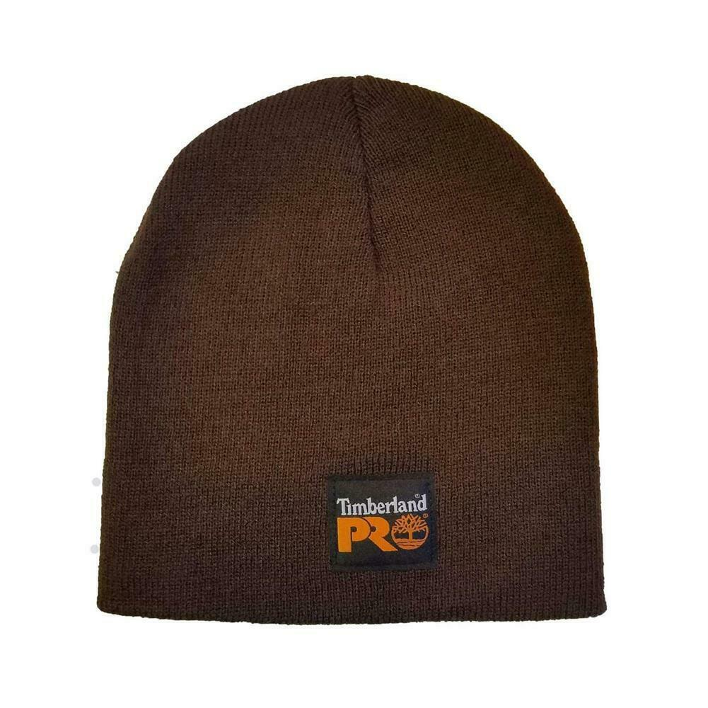 Dark Brown Timberland Pro beanie with black tag