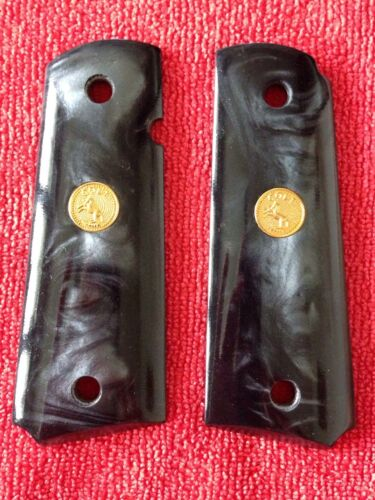New Black Pearl Resin c Medallion Grip For 1911 Full Size Colt Kimber Clones