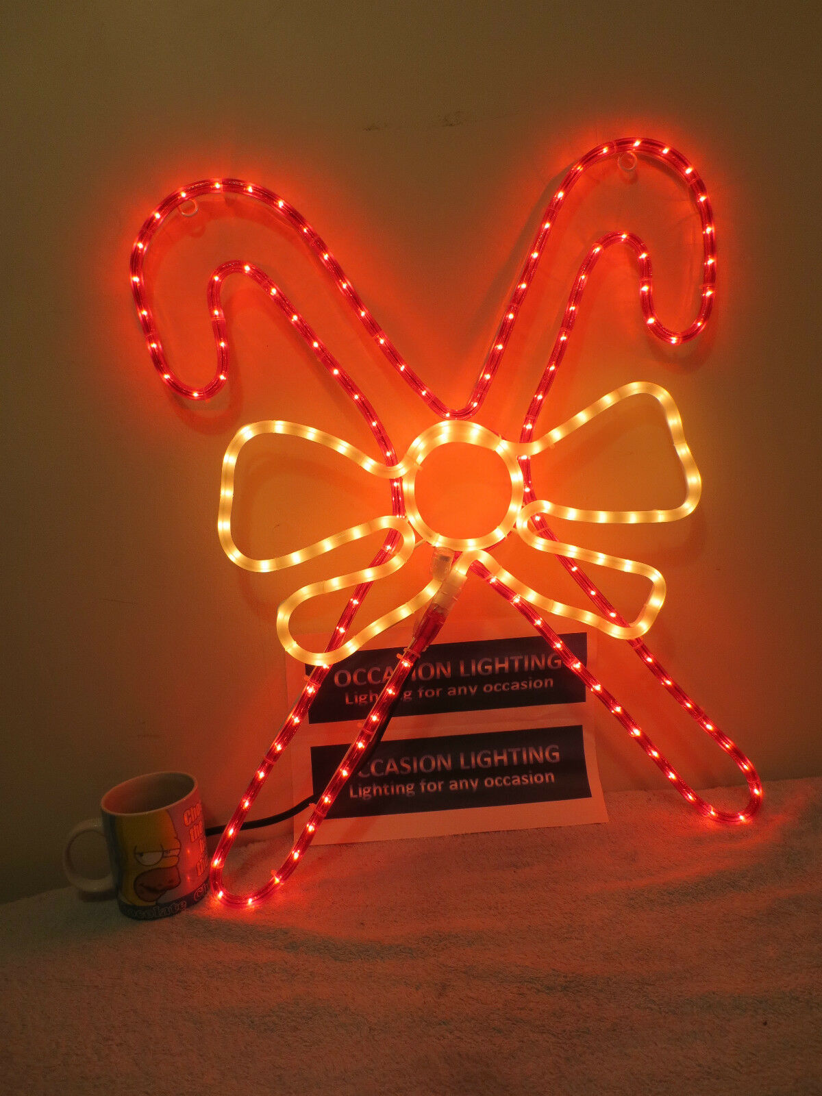 VERY LARGE OUTDOOR CHRISTMAS CANDY CANDY CANDY CANE & BOW DISPLAY LIGHT CHRISTMAS LIGHT 8055c9