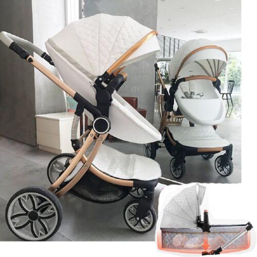 Baby stroller 3 in 1 folding high view pushchair shock absorber 0-3 years pram