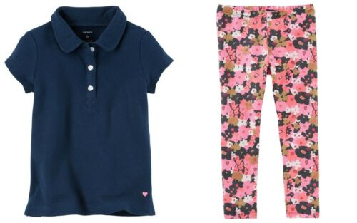 Toddler Girls Carters Navy Polo Top /& OshKosh Floral Print Leggings NWToutfit