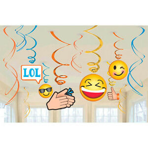 Image Is Loading EMOJI LOL HANGING SWIRL DECORATIONS 12 Birthday Party