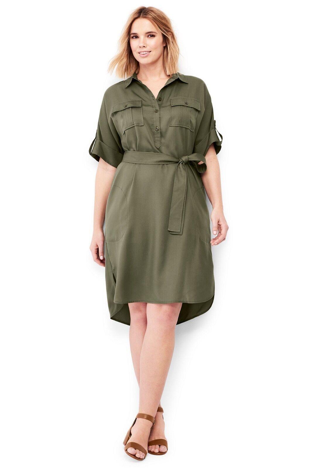 LANDS\' Plus Size 24W, 26W Smoky Olive Utiility Shirt Dress 99 NWT ...