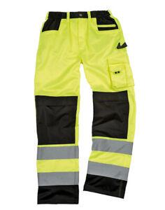 Resultado-Cargo-Pantalones-Workwear-HI-VIZ-VISIBILIDAD-REFLECTANTE-Rodillera-Bolsillos-Nuevo