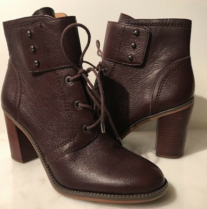 FRANCO SARTO EDEN WOMENS BROWN  LEATHER ANKLE HEEL BOOTS 9.5 NEW