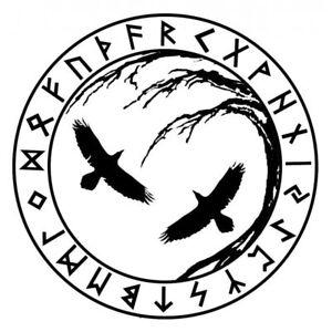 large 22 viking runes raven w birds huginn muninn die cut vinyl