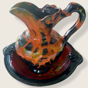 California Pottery 1108 Mold Retro 70s Hand Glazed Pitcher And Bowl