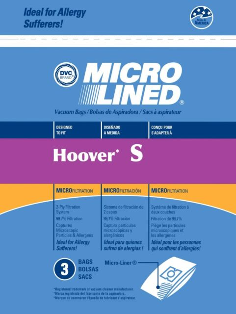 3 Hoover Type S Microlined Vacuum Cleaner Bags Futura Spectrum Windtunnel