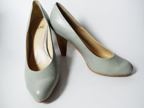 Noe Medium High Heel Women Leather Pumps Court Shoes Grey