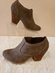 Dr-Scholls-Sz-8-Casey-Ankle-Boots-Heels-Taupe-Distressed-Leather-Zip-Womens