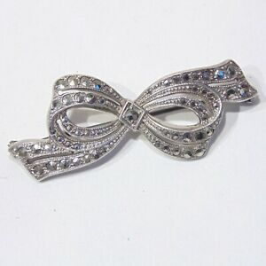 Antique-Art-Deco-era-sterling-silver-marcasite-ribbon-bow-pin-brooch-signed-G