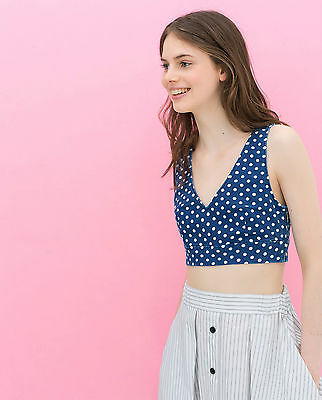 ZARA BLUE POLKA DOT CROP TOP CORSET SIZE MEDIUM