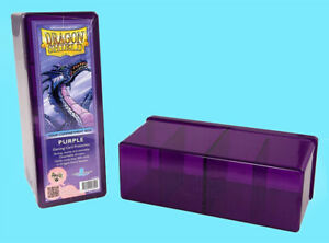 DRAGON-SHIELD-FOUR-COMPARTMENT-PURPLE-CARD-STORAGE-BOX-NEW-Case-Dividers-ccg-mtg