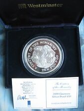 Guernsey 2000 Huge 5oz Silver Proof £10 coin Century of Monarchy COA Low Mintage