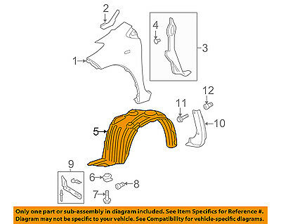 For Yaris 07-11 Plastic Front Passenger Side Fender Splash Shield