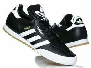 Nuevo-Adidas-Samba-Super-Para-Hombre-De-Cuero-Negro-Original-Formadores-Tamanos-UK-7-11