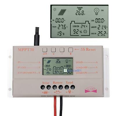 LCD 10A 20A 30A MPPT Solar Panel Battery Regulator Charge Controller 12V/24V KJ