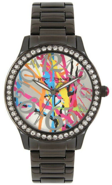 Betsey Johnson BJ00131-103 Multicolor Dial Black Stainless Steel Women's Watch