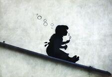 Banksy Poster Graffiti Girl Sliding Bubbles