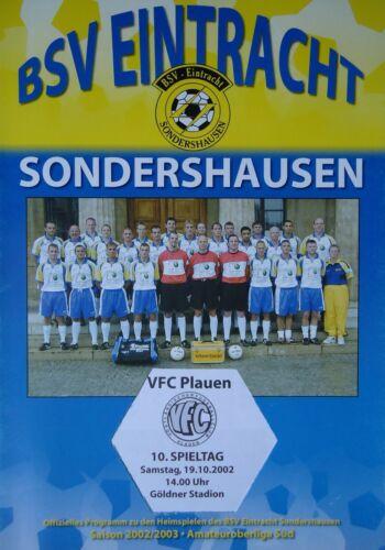 Fußball Programm 2002/03 BSV Eintracht Sondershausen VFC Plauen Sport