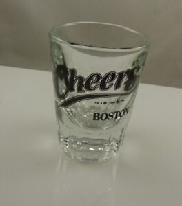 Cheers-Boston-oversize-shot-glass-3-inch-tall-x-1-1-2-2-inch-1993-Par-Pic