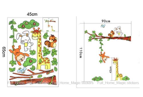 Giraffe Monkey Rabbit/&Tree Children//Kids Bedroom Nursery Wall Stickers Art Decor