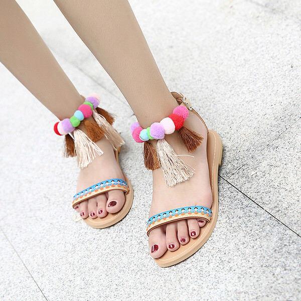 Sandalen bunt elegant niedrig hausschuhe bunt Sandalen leicht komfortabel simil leder 9928 249953