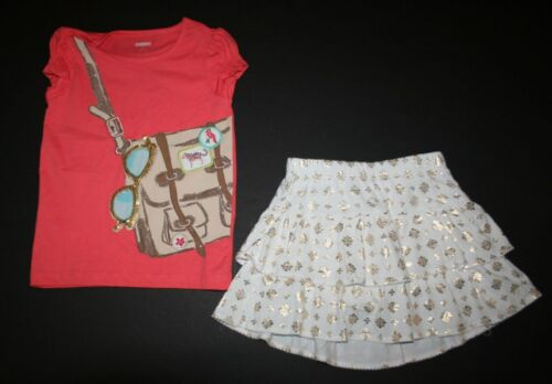 New Gymboree Satchel Tee Gold Medallian Ruffle SkortSkirt Set 4 Yr Sunny Safari
