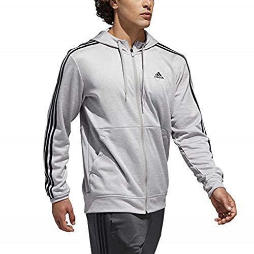 adidas Men/'s Full Zip Fleece Sports Sweatshirt Hoodie Black 3-Stripe S M L 2XL