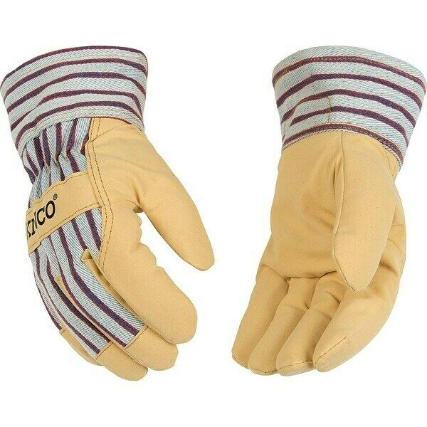 Kinco 1958-Lined Split Pigskin Leather Palm Work Glove Brown Safety Cuff Large