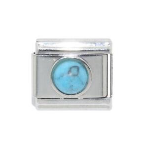 Blue oval stone 9mm charm fits 9mm classic Italian charm bracelets