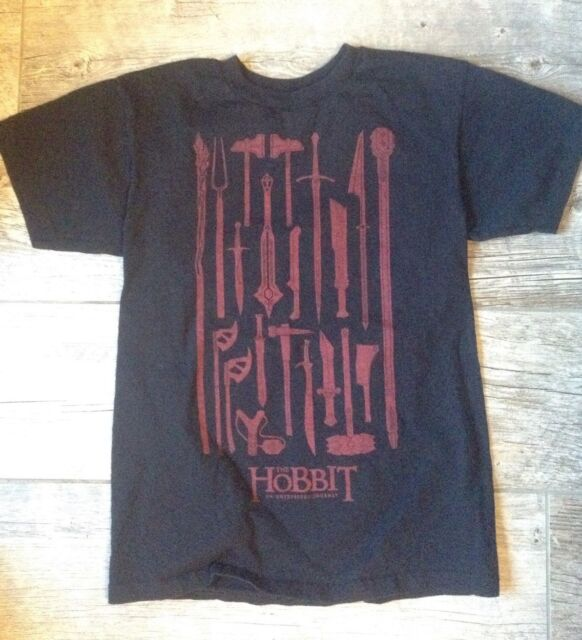 The Hobbit Unisex T-shirt Weapons Childs Size 12 Black with Swords