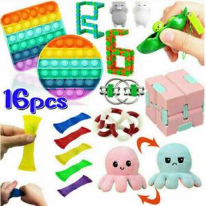 16X Pop It Fidget Sensory Toy Set Autismus SEN ADH Fidget Stressabbau Spielzeug