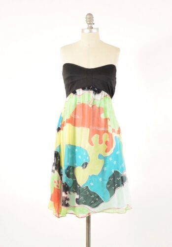 Diane von Furstenberg Dress 0 Strapless Abstract P