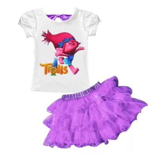Trolls Girls Dress Cosplay Gown Kids Clothing Children Fancy Tutu Dress skirt A